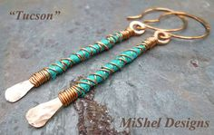 Copper Wire Wrapped Long Dangle Earrings with by MiShelDesigns