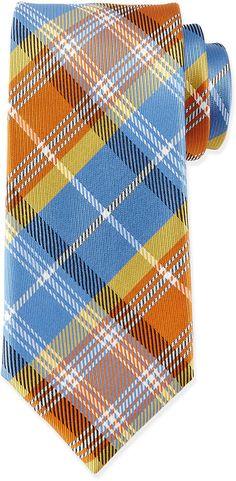 Massimo Bizzocchi Plaid Silk Tie, Blue/Yellow MultiPrice : 175.00$