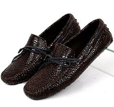 Santimon-Men's Comfortable Paint Serpentine Genuine Leather Driving Shoes Horsebit Moccasins Loafer Doug Shoes-brown-42