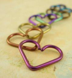 16 gauge Niobium Turquoise Heart Piercing - Hypo Allergenic - Cartilage piercing. $15.00, via Etsy.