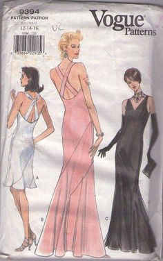 MOMSPatterns Vintage Sewing Patterns - Vogue 9394 Retro 90's Sewing Pattern INCREDIBLE Rare Find 20s Great Gatsby Flapper, Torch Singer Bias Flared Sun Dress, Red Carpet GALA Event Evening Gown, Mermaid Hem Wedding Dress, Straps, Slinky, Curve Hugging Jean Harlow Beach Wedding I AM SCREAMING! Size 12-16