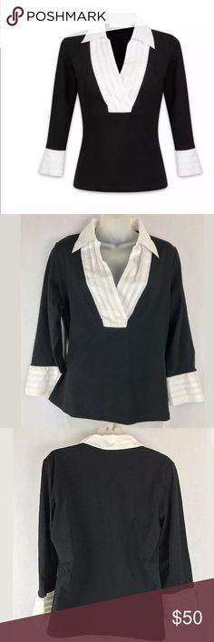 """Anne Fontaine adenora blouse size 46 Anne Fontaine Size 46 (Anne Fontaine size chart says this is US 14 but see measurements below to make sure it will fit)  Made in France  Style Name:  ADENORA  black jersey with shirt-front in plissed white voile.  3/4 sleeve.  Repeat of the motif on the cuff - 93% Cotton, 7% Elastane  Collar & Cuffs: 100% Cotton  Measurements (Flat/unstretched) 22"""" under arms across the back 24"""" from shoulder to hem down the back  Around bottom hemline 45"""" Anne Fontaine…"""