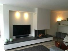 Looking for the right fireplace? Take a look at these inspirations! Living Room Modern, Home Living Room, Interior Design Living Room, Living Room Decor, Modern Fireplace, Living Room With Fireplace, Fireplace Design, Interior Stairs, Interior Exterior