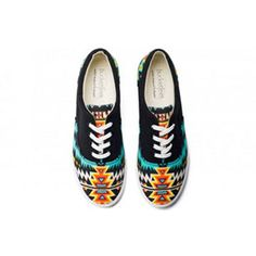 Archer's tribal pattern adds a beautiful twist to a black canvas lace-up. Style these with dark colored pants to add a unique splash of color to