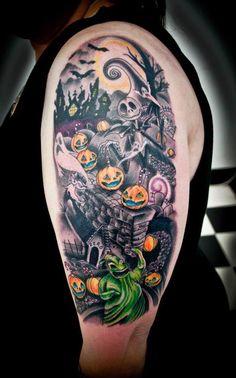 The Nightmare Before Christmas tattoo Epic Tattoo, Tattoo Arm, Back Tattoo, Cute Tattoos, Body Art Tattoos, Tatoos, Halloween Tattoo Flash, Nightmare Before Christmas Tattoo, Spooky Tattoos