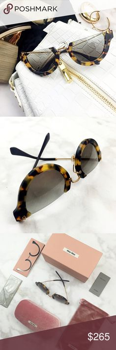 Miu Miu Tortoise Semi Rimless Sunglasses Details: • Tortoise frames • Gold metal and black stems • Gold hardware • Rimless on top  • Comes with box, case, soft pouch, cleaning cloth • NWT   07211604 Miu Miu Accessories Sunglasses