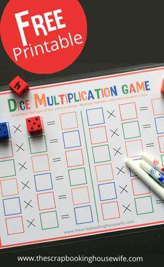 Dice Multiplication MATH Game for Kids – Free Printable! Dice Multiplication MATH Game for Kids – Free Printable! Printable Math Games, Math Card Games, Card Games For Kids, Free Games For Kids, Fun Math Games, Free Printables, Math Games With Dice, Third Grade Math Games, Kid Games