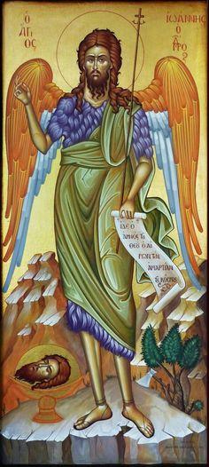 ST JOHN ΑΓΙΟΣ ΙΩΑΝΝΗΣ ΠΡΟΔΡΟΜΟΣ Spirit Soul, Byzantine Icons, Studio, Painting, Art, Art Background, Painting Art, Kunst, Studios