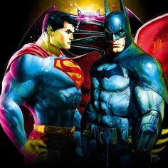 Batman vs Superman oil painting by Patrice Murciano Patrice Murciano, Spiderman Vs Superman, Site Art, Millenium, Sculpture, Dc Heroes, Pop Art, Marvel, Comics