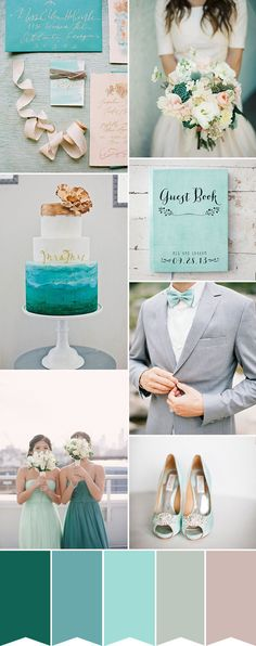 Bright but Beautiful - An Aqua and Teal Wedding Palette // www.onefabday.com