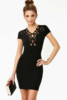 New Romance Dress - Black | Shop Dresses at Nasty Gal: Sexy Little Black Dress with Laser Cut Details!