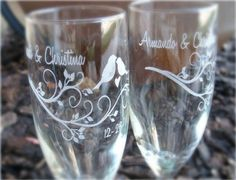 Modern Lovebirds Engraved Wedding Glass Toasting by Laserbird, $24.00