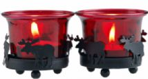 Set Of 2 Red And Black Christmas Reindeer Tea Light Candle Holders