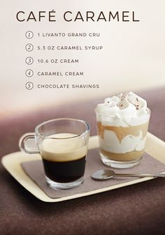 Luxuriate in the golden richness of Cafe Caramel on a cold winter's day. This indulgent dessert and coffee pairing is the perfect way to treat yourself at the end of a long day. Sit back and relax as you dive through layers of fresh whipped cream and homemade caramel cream. Serve alongside a cup of Livanto Grand Cru to balance the sweetness of the dessert.
