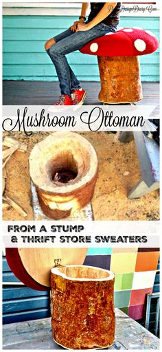How to make an Ottoman that looks like a Mushroom from free tree stump and thrifted sweaters!