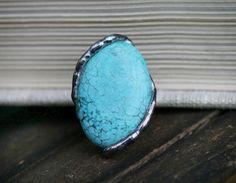 howlite ring blue ring turquoise ring by Blacksmithworkshop