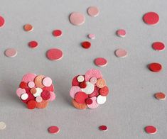Pink Red Valentine Confetti Leather Statement Stud Earrings Reclaimed Leather by Scandinazn