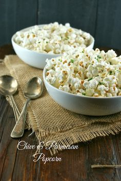 Authentic Suburban Gourmet: Chive & Parmesan Popcorn | Friday Night Bites