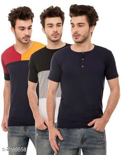 Tshirts Men's Cotton Blend T-shirts  ( Pack Of 3 ) Fabric: Cotton Blend Sleeves: Half Sleeves Are Included Size: S M L XL (Refer Size Chart)  Length: Refer Size Chart Fit: Regular Fit Type: Stitched Description: It Has 3 Pieces of Men's T-Shirts Pattern: Solid Country of Origin: India Sizes Available: S, M, L, XL   Catalog Rating: ★4.1 (473)  Catalog Name: ⭐Trendy Men's Cotton Blend T-shirts Combo Vol 3 CatalogID_288025 C70-SC1205 Code: 794-2169558-