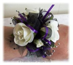 Purple Wrist Corsages for Weddings | ... this one plum perfect it is a wrist corsage made with white silk roses
