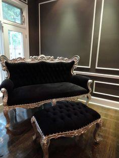 Black velvet settee with silver wood!