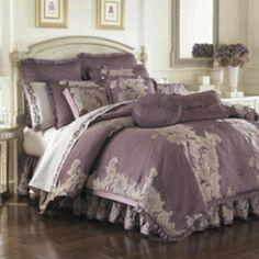 Pretty royal looking :) Anastasia Purple Comforter Sets - Bed Bath & Beyond Purple Comforter, Purple Bedding Sets, Bedroom Comforter Sets, King Comforter, Bohemian Comforter, Lavender Bedding, Home Bedroom, Bedroom Decor, Casual Bedroom