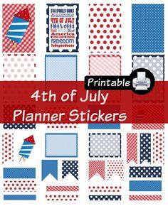 4th Of July PDF PRINTABLE Planner Stickers Happy Planner Erin Condren Planner Filofax Plum Paper Decorating Kit Independence Day America by WhimsicalWende on Etsy