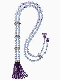 Etourdissant collection, Violine Long necklace/Back necklace – Platinum, chalcedonies, amethysts, diamonds from Cartier