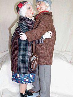 """Vintage Cloth Sculptured Couple Old Man Old Woman Hugging by Dorit 19"""" German   eBay"""