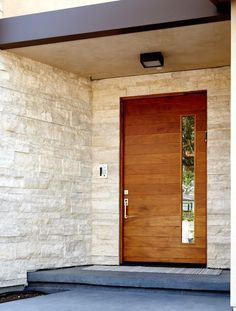 The Katti style is a modern pivot door. This semi-custom wood pivot door is built with steel reinforced core, foam insulation and inch hardwood covering. Modern Exterior Doors, Modern Exterior, Pivot Doors, House Front, Main Entrance Door Design, House Exterior, House Doors, Entry Doors, Front Door Design
