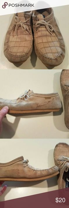 Ben Sherman Tan PONY FUR Wallabie Shoes Used. Good condition. Water stains on sides from rain puddle. Actual PONY FUR Ben Sherman Shoes Loafers & Slip-Ons
