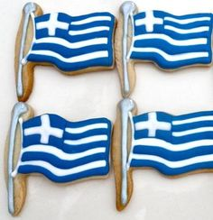 flag cookies for different countries Greek Sweets, Greek Desserts, Greek Recipes, Greek Flag, Go Greek, Greek Independence, Sugar Cookie Royal Icing, Greek Cooking, Christmas Sugar Cookies