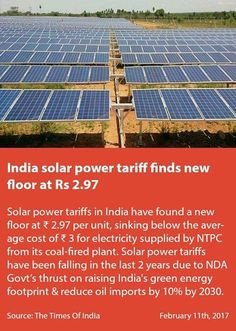 India solar power tariff finds new floor at Rs 2.97 timesofindia.indiatimes.com/business/india… via NMApp