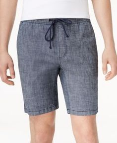 American Rag Men's Classic Fit Stretch Chambray Drawstring Jogger Shorts, Only at Macy's  - Blue