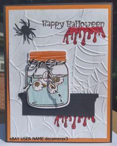 HALLOWEEN CARD KIT, SET OF 4, HANDMADE STAMPIN' UP JAR OF HAUNTS, SPIDER WEB,  #HandmadeStampinUp #Halloween
