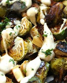 Roasted Brussels Sprouts with Tahini Sauce {gf, vegan} Low carb if you sub out the parsnips with turnips or radishes. cup tahini has 7 net carbs. Whole Food Recipes, Vegetarian Recipes, Cooking Recipes, Healthy Recipes, Healthy Eats, Tahini Recipe, Tahini Sauce, Recipes With Tahini, Vegetable Side Dishes