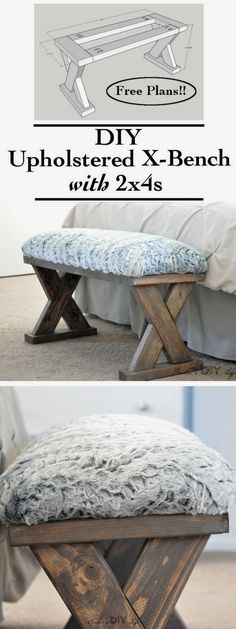 Check out the tutorial on how to make a DIY upholstered bench @istandarddesign #woodworkingbench