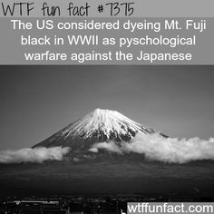 the usa planned to dye mt fuji black wtf fun - WTF Facts Wierd Facts, Weird But True, Wow Facts, Wtf Fun Facts, True Facts, Intresting Facts, Fascinating Facts, Crazy Facts, Amazing Facts