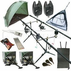 OAKWOOD Full Carp Fishing Set Up Kit Rods Reels Alarms & Tackle Mat & Shelter. 2 x Carp rods. 2 x Carp Bite Alarms. The carp reels are spooled with line. x 3 - Carp Leads x 3 - Carp Rods, Rod And Reel, Carp Fishing, Shelter, Ebay