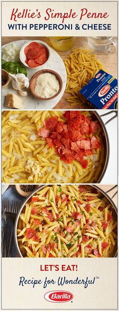 Takeout isn't your only option for a speedy dinner. All of your family's favorite pizza flavors – pepperoni, basil, and cheese – combined with deliciously al dente penne – and no need to wait for delivery. Kellie's Simple Penne with Pepperoni & Cheese is made in one pan and ready in just 15 minutes.: