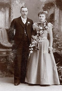 George and Agnes Sievers on their wedding day in Kiel, Wisconsin. You can find this on Arts and Culture, and Latah County Historical Society. Black Bride, American Wedding, Vintage Weddings, White Wedding Dresses, Historical Society, Wisconsin, Wedding Day, Crafting, Victorian