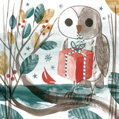 Owl illustration inspired by the Seasalt Christmas window display. By Matt Johnson for Seasalt Cornwall.