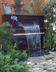 Piano fountain at Meadow View Growers in New Carlisle, OH - an AAS Display Garden!