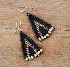 black and gold micro macrame large tribal by yasminsjewelry