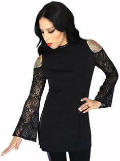 "Women's ""Layla"" Lace Cold Shoulder Tunic by Rodeo Fox 