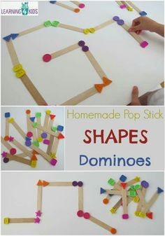 Shapes Dominoes - simple hands-on game for learning and playing with shapes. http://www.learning4kids.net/2016/02/01/diy-pop-stick-shape-dominoes-game/