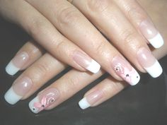 French Style Wedding Manicure with Gentle Pink Flower on Ring Finger