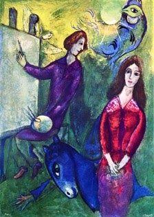 Marc Chagall - L'artista e la sua modella - 1949 Marc Chagall è pittore straordinario della nostalgia, di una nostalgia che egli ha rife...
