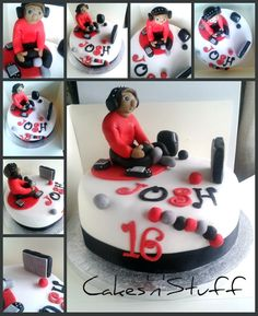 teen age boy playing video games birthday cake