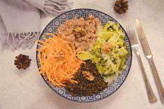 Veggie bowl hiver : lentillles, kasha, légumes et noix - Savoureux et vite préparé - Au Fil du Thym